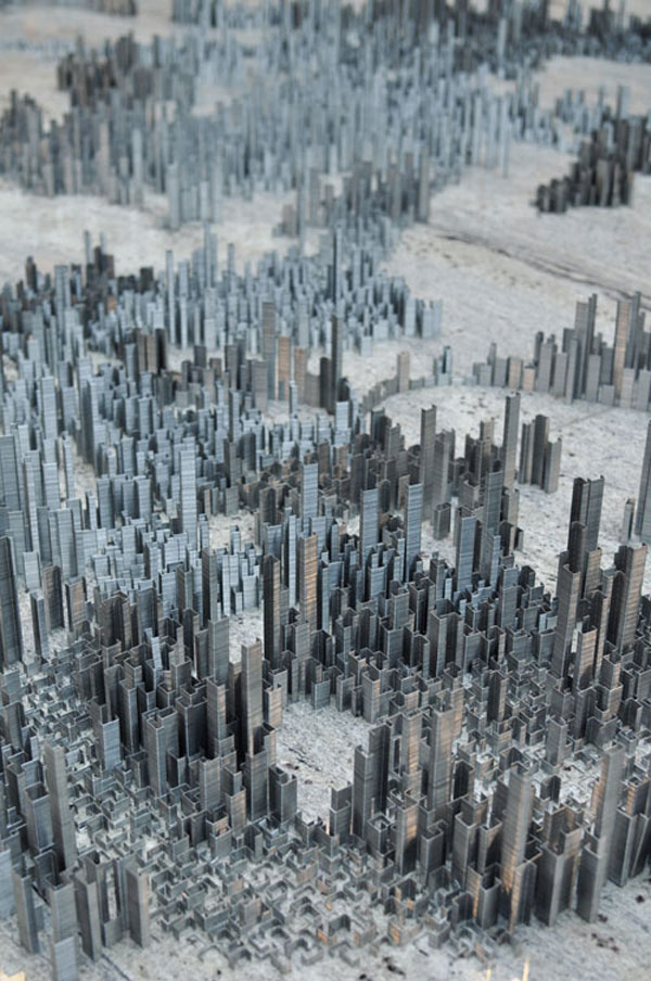 City installation made out of 100000 staples by peter root 0